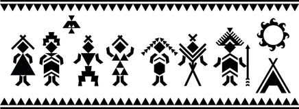 Aboriginal people silhouettes vector symbols. Ethnic elements. Vector and illustration. Aboriginal people silhouettes vector symbols. Vector patterns. Ethnic stock illustration