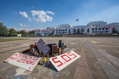 Aboriginal protest art installation in front of Old Parliament house in Canberra, Australia stock photos