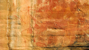 Aboriginal rock art. Ancient rock paintings, Northern Territory, Australia royalty free illustration