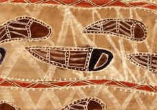 Aboriginal style inspired abstract background. Symbolic river in brown ink and charcoal (created by myself Royalty Free Stock Photography
