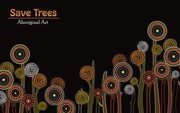 Aboriginal tree, Aboriginal art vector painting with tree, Save tree landscape banner background. Aboriginal tree art vector painting with tree, Save tree vector illustration