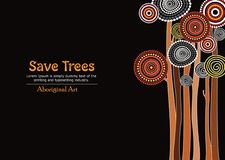 Aboriginal tree, Aboriginal art vector painting with tree, Save tree banner background. Aboriginal tree art vector painting with tree, Save tree banner royalty free illustration