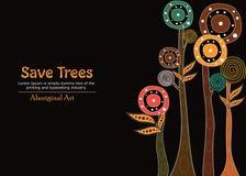 Aboriginal tree, Aboriginal art vector painting with tree, Save tree banner background. Aboriginal tree art vector painting with tree, Save tree banner vector illustration