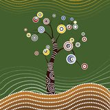 Tree on the hill, Aboriginal tree, Aboriginal art vector painting with tree. Illustration based on aboriginal style of dot paintin. Aboriginal tree art vector vector illustration