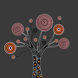 Aboriginal Tree Illustration. Australian illustration based on aboriginal style of dot tree vector illustration