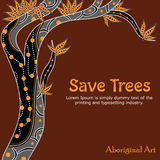 Aboriginal Tree Illustration. Save tree. Illustration based on aboriginal style of dot tree. Vector painting Royalty Free Illustration