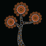 Aboriginal Tree Illustration. Vector painting. Illustration based on aboriginal style of dot tree Stock Illustration