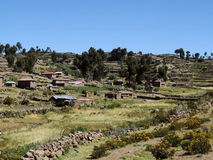 Aboriginal village on Taquile island Royalty Free Stock Images