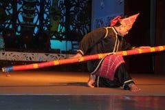 Aboriginal  Warrior dance. Performed at cultural village sarawak Stock Photo