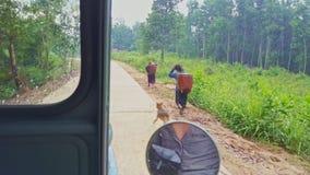 Aboriginals gehen auf nassen Clay Road im Regen Carry Plants stock footage