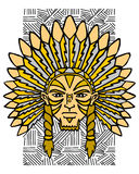 Indian. Aborigine of the America. Portrait of the Indian. This is vector illustration ideal for a mascot or T-shirt graphic Stock Photos