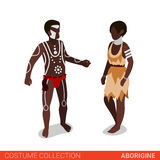 Aborigine couple flat 3d isometric costume collection. Aborigine Australian couple. Flat 3d isometric web site vector illustration. People in traditional costume Royalty Free Illustration