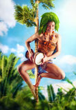 Aborigine with drum Royalty Free Stock Images