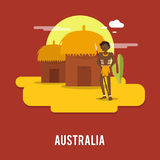 Aborigine historic people Australia illustration design.  vector illustration