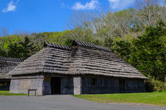 Aborigine hut in japan. Hut aborigine peaple in japan made from grass rice straw by intellect in hertitage properly in climate royalty free stock images