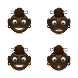 Aborigine smileys. Set with emotions stock illustration