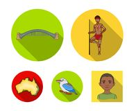 Aborigine with a spear, Sydney Harbor Bridge, kookabarra on a branch, the territory of the country.Australia set. Collection icons in flat style vector symbol Royalty Free Stock Image