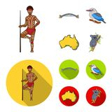 Aborigine with a spear, Sydney Harbor Bridge, kookabarra on a branch, the territory of the country.Australia set. Collection icons in cartoon,flat style vector Royalty Free Stock Image