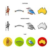 Aborigine with a spear, Sydney Harbor Bridge, kookabarra on a branch, the territory of the country.Australia set. Collection icons in cartoon,flat,monochrome Royalty Free Stock Image