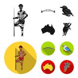 Aborigine with a spear, Sydney Harbor Bridge, kookabarra on a branch, the territory of the country.Australia set. Collection icons in black, flat style vector Stock Photography