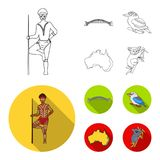 Aborigine with a spear, Sydney Harbor Bridge, kookabarra on a branch, the territory of the country.Australia set. Collection icons in outline,flat style vector Vector Illustration