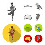 Aborigine with a spear, Sydney Harbor Bridge, kookabarra on a branch, the territory of the country.Australia set. Collection icons in monochrome,flat style Stock Illustration