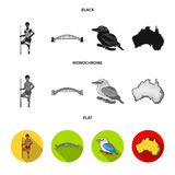 Aborigine with a spear, Sydney Harbor Bridge, kookabarra on a branch, the territory of the country.Australia set. Collection icons in black, flat, monochrome Vector Illustration
