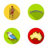 Aborigine with a spear, Sydney Harbor Bridge, kookabarra on a branch, the territory of the country.Australia set. Collection icons in flat style vector symbol Royalty Free Illustration
