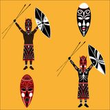Aborigine. Vector drawing of native on a blank background Stock Photography