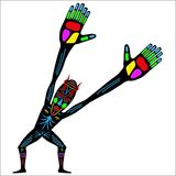 Aborigine. Vector drawing of native on a blank background Stock Image