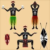 Aborigine. Vector drawing of native on a blank background Royalty Free Stock Photos