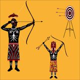 Aborigine. Vector drawing of native on a blank background Stock Photo