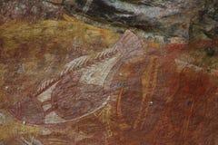 Aboriginer vaggar konst på den Kakadu nationalparken, det nordliga territoriet, Australien Royaltyfria Foton