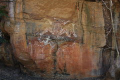 Aboriginer vaggar konst på den Kakadu nationalparken, det nordliga territoriet, Australien Arkivfoton