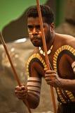 Aborigines actor at a performance. In the Tjapukai Culture Park on April 18, 2009 in Kuranda, Queensland, Australia Stock Photography