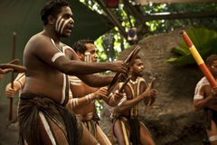 Aborigines actors at a performance. In the Tjapukai Culture Park on April 18, 2009 in Kuranda, Queensland, Australia Stock Image
