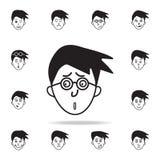 aborrecimento no ícone da cara Grupo detalhado de ícones faciais das emoções Projeto gráfico superior Um dos ícones da coleção pa ilustração do vetor