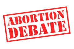 ABORTION DEBATE Rubber Stamp. ABORTION DEBATE red rubber stamp over a white background stock illustration