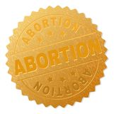Gold ABORTION Medal Stamp. ABORTION gold stamp seal. Vector golden medal of ABORTION text. Text labels are placed between parallel lines and on circle. Golden vector illustration