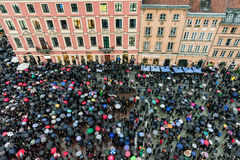 Abortion protest in old town Warsaw. WARSAW, POLAND - OCTOBER 4: Abortion protest in the old town area of Warsaw on October 4, 2016 in Warsaw royalty free stock image