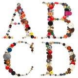Abotoa o alfabeto: letras A-B-C-D Imagem de Stock Royalty Free