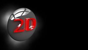 Abotoe o 2D na ilustração 3D Fotografia de Stock