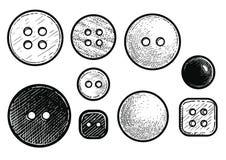 Abotona el ejemplo, dibujo, grabado, tinta, línea arte, vector ilustración del vector