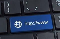 Abotone con HTTP WWW del internet address y el icono del globo. Imágenes de archivo libres de regalías