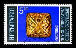 Abotone con los ornamentos, el tesoro de oro de Preslav (9no-10mo Imagen de archivo libre de regalías