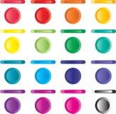 Abotone, conjunto de botones ligeros de rojo, azules, verde. Fotos de archivo