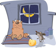 About A Cat And A Mouse. A Meeting. Cartoon Stock Photography