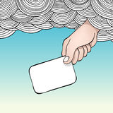 From above. Editable  illustration of a hand reaching out of the clouds holding a blank card Stock Image