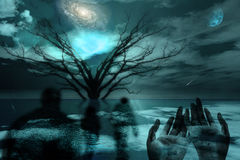 Above. Ghostlike figures journey in landscape Royalty Free Stock Photo