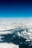 Above aerial plane view of Italian alps Stock Photo
